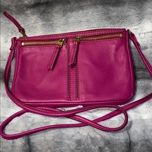 Pink leather Fossil crossbody